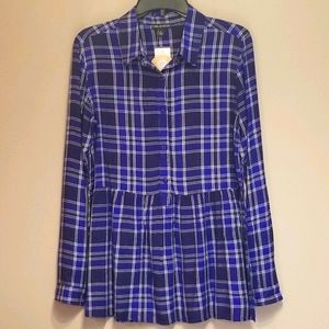 🆕️Blue plaid peplum long sleeved top